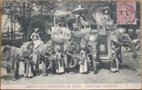 1906 Postcard: Indian Exposition - Paris, France - People on Elephants - India