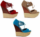 New Dollhouse Hotstuff Lace up Suede Wedge Open Toe Espadrilles Sandals SZ 6-10