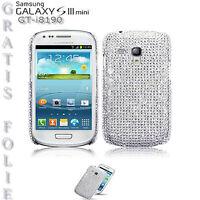 Diamant Strass Bling Schutz Hülle Case Samsung Galaxy S3 Mini i8190 Silber Folie