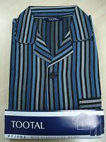 Tootal Mens Blue & Black Satin Stripe Poly/Cotton Elasticated Waist Pyjama S-XXL