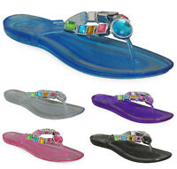 New Womens Ladies Jelly Toe-Post Flat Beach Casual Summer Slipper Shoes Size 3-8