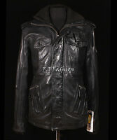 Leonardo Black Men's New Retro Smart Casual Real Waxed Leather Safari Jacket