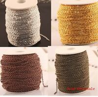 Wholesale 5m/100m silver/gold plated cable open link iron metal chain findings