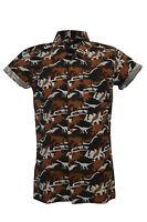 Mens Seventies Retro Vintage Dinosaur Camo Short Sleeve Shirt XS S M L XL XXL
