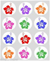 12 Hibiscus Hawaiian Cupcake Decoration Edible Cake Toppers Pre Cut 40mm