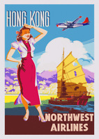 Vintage Travel Poster Print Hong Kong Harbour 1950s Boeing Stratocruiser Picture