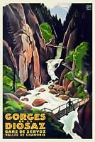 Art Deco French Colour Travel Poster Gorges De La Diosaz Chamonix 1930s Vintage