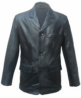 Men's Classic Black Real Lambskin Leather 3 Button Blazer Suit Jacket