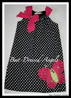 RARE EDITIONS Girl Sz 5 Adorable Butterfly & Polka Dot Dress White Pink Black JL