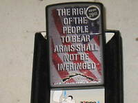 ZIPPO USA LIGHTER RIGHT TO BEAR ARMS AMERICAN FLAG Rifle NRA 2nd Ammendment Star