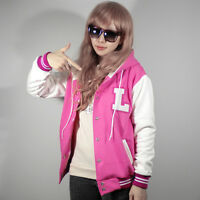 New Women Letter L Patch Hoodie Baseball Varsity Jacket XS S M L XL Pink Quality
