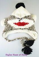 Winter Knit Animal Fleece Hat Adult Size Ear Flap Beanie Sky Trooper-Sock Monkey