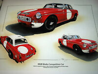 MG MGB WORKS COMPETITION LE MANS 1965 PADDY HOPKIRK HEDGES STUNNING RARE PRINT a