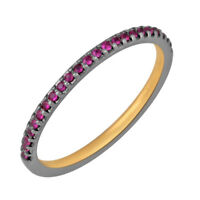 Natural Ruby 925 Sterling Silver Pave Engagement Band Ring Fashion Jewelry