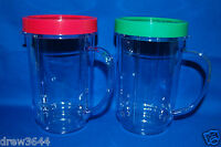 2X Genuine MAGIC BULLET Party Mugs Cups & Colored Lip Rings NEW OEM Authentic