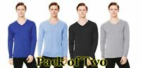 Mens 2 Pack Bella Canvas Long Sleeve V-Neck Tee Triblend T-Shirt- 4 Colours