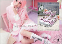 Lolita Baby Doll Pink Bow Scalloped 8/8.5 Heel shoes 39 2506 pink+white