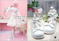Lolita fantasy Baby Doll KERA Bow Scalloped 8/8.5 Heel 39 White 2506