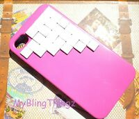 Pink Studded Hard Back Case Cover + White Pyramid Studs for iPhone 4 4G 4S