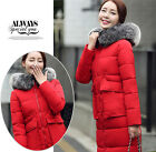 New Women's Winter Hooded Thick Jacket Parkas Fur Collar Down Cotton Padded Coat