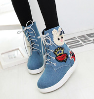 Womens Cartoon Platform Wedge Ankle Boots High Top Lace Up Casual Sneakers Shoes