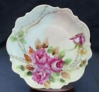 """Antique CT Germany Signed by Author Hand Painted Pink Roses 8 1/2"""" Salad Plate"""