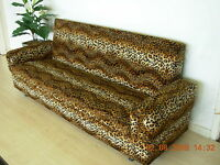 BROWN LEOPARD ANIMAL PRINT SOFA BED 3 - 4 SEATS STORAGE 204CM FREE DELIVERY NEW