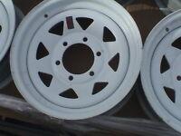 15x6  6/5.5 White Spoke Trailer Wheel / Rim 15 Inch / 6 Lug C/O RV