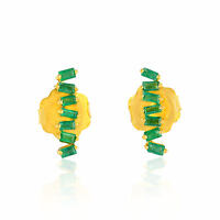 Natural Baguette Emerald 18k Yellow Gold Women's Stud Earrings Designer Jewelry