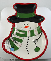 Large Christmas Snowman Ceramic Cookie Plate Platter Candy Nut Tray Bowl Dish