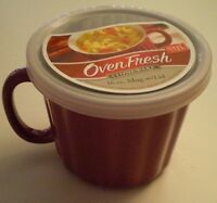 BRAND NEW Good Cook OVEN FRESH CERAMIC 16-OZ RED SOUP MUG with LID in orig pkg
