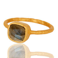 Natural Labradorit Gemstone Jewelry 925 Sterling Silver 18K Gold Plated Ring