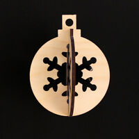 Wooden Christmas Tree Snowflake Bauble Hanging Decorations x 3 / 3 sizes