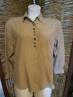 Women's Brown Koret City Blues Blouse Shirt sz M