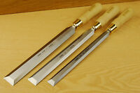 NAREX 8132 Paring Chisels - Set of 3 with natural hornbeam handles.