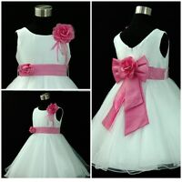 Hot Pink Christmas Wedding Party Flower Girls Dresses AGE 1,2,3,4,6,7,8,9,10,12Y