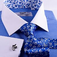 Mens Blue Formal Business Dress Shirt Contrast Cuff White Collar Luxury Oxford