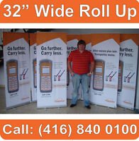 "3 UNITS - 32"" WIDE Trade Show Retractable Banner Stands Displays + FREE PRINTS"