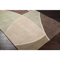 5x8 Thick Contemporary Modern Abstract Green Brown Beige Tan Decor Area Rug