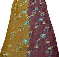 VINTAGE DUPATTA LONG STOLE SCARF WRAP SEQUINS PAREO FABRIC VEIL EMBROIDERED ART