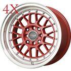 Drag Wheels DR-44 15x8.25 4x100 4x114 +25 Red Rims for Civic Del Sol Crx JDM MK2