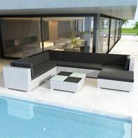vidaXL Outdoor Lounge Set 24 Pieces Wicker Poly Rattan White Garden Patio Sofa