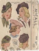 "1942 Vintage Sewing Pattern HAT S22"" (R131)"