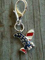 Lobster Claw Eagle on American Flat Charm / Zipper Pull