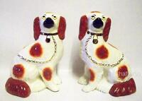 Antique Pair of Staffordshire KING CHARLES SPANIELS c 1860s