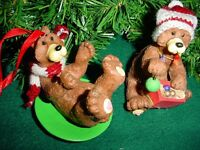NEW Set of 2 Christmas Bear figurine & sledding bear resin tree ornaments