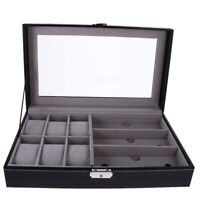 1/2/5/6/9/10/12 Slot Watch Display Case Leather Jewelry Storage Box Organizer