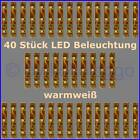 s332 - 40 PEZZO ILLUMINAZIONE LED 5cm bianco caldo CASE CARRI RC Modelli