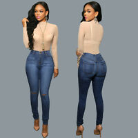 Women Pencil Stretch Casual Denim Skinny Jeans Pants High Waist Trousers Gifts