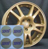 WRX STI ALLOY WHEEL CENTRE STICKERS X4 50MM GOLD & BLUE STI